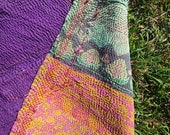 OKRA - hippie KANTHA boho THROW / purple pink mint gypsy picnic blanket / twin bohemian bedding quilt / tablecloth saree handmade Maharaja