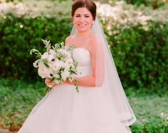 "New - Custom Order 1"" HORSEHAIR DROP Veil w/ Blusher, Fingertip or Waltz Length Wedding Veil - Emily"
