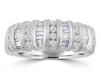 1/2ct Channel Set Round & Baguette Diamond 14k White Gold Milgrain Fancy Band Ring