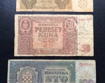 Yugoslavia banknotes,paper money 1941,very rare,croatia collectibles money