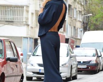 Women Hooded Blue Set, Plus Size Sport Top, Drop Crotch Pants, Open Back Sweatshirt, Extravagant Sport Set by SSDfashion