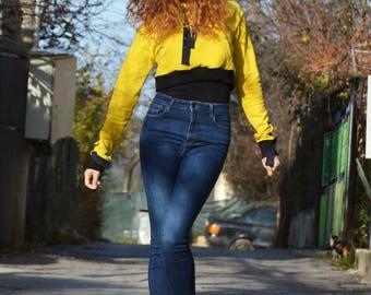 Plus Size Sweatshirt, Extravagant Mustard Top, Short Asymmetrical Top, Oversize Sweater, Maxi Blouse by SSDfashion