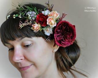 Wedding Flower Crown Floral crown READY Burgundy peach crown Boho Halo Floral hair wreath Bridal Flower crown Fall flower crown LV12