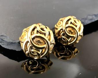 Chanel earrings, Chanel CC gold earrings, Chanel vintage earrings, high fashion clip on earrings, Authentic Chanel statement earrings
