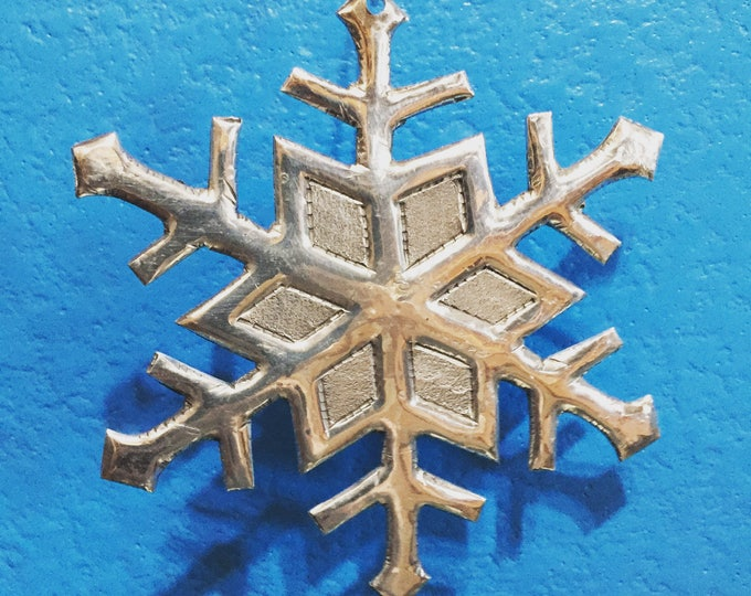 Hand Cut Hammered Polished Aluminum Snowflake Ornament