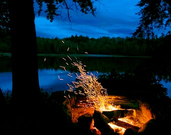 Adirondack Mountain Camping Photo, Campfire, Adirondack Decor, Adirondack Camping, Night Photography, Adirondack Print, Outdoor Campfire