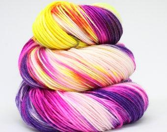 Sock superwash merino/nylon; Tootie Frootie 100g, hand dyed yarn