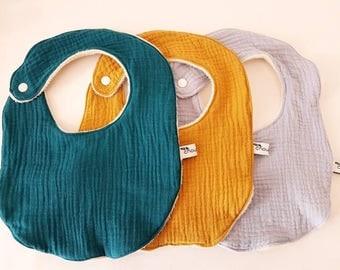 Set of 3 bibs in gauze cotton oeko tex and GOTS certified organic Terry