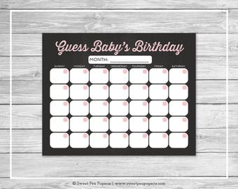 Chalkboard Baby Shower Guess Baby's Birthday - Printable Baby Shower Guess Baby's Birthday Game - Pink Chalkboard Baby Shower - SP155