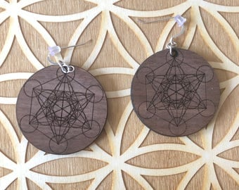 Metatron's Cube Wooden Earrings - Walnut Wood - Sacred Geometry - Wood Cut Earrings - Sterling Silver