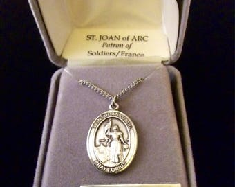 Sterling Silver Joan of Arc Pendant on Stainless Steel Chain