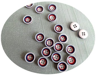 Set of 20 buttons haberdashery white/blue/red