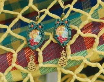 Handmade Soutache Earrings - Piña Colada