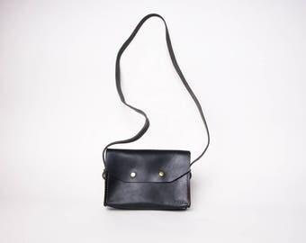 Leather Crossbody Purse | Black Leather Purse | Minimalist Leather Purse | Black Leather Handbag