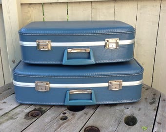 Set of Two Vintage Blue Suitcases Mint Unused Condition