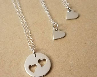 Mother and Daughter jewelry,Mother and two daughters necklace,Heart cutout charm necklace,Sterling Silver