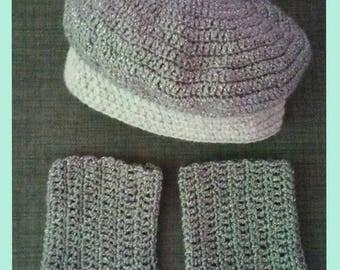 Set beret and leggings crochet - leggings - girl - baby gift or birthday - baby or child