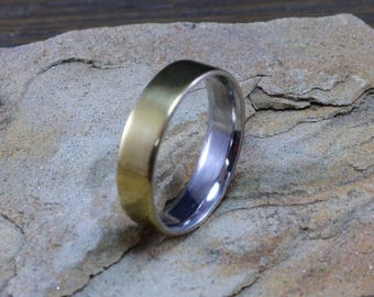 Stainless Steel & Brass Wedding,Engagement or statement ring
