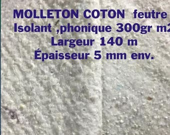 1 meter of FLEECE cotton felt, insulation, sound 300gr m2 width 140 m thickness 5 mm approx