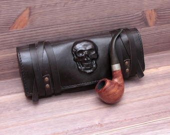 Genuine Leather Pipe Pouch. Tobacco Pouch Case Holder. Pipe Roll. Pipe Bag. Pipe Stand. Pipe holder. 3D skull. Steampunk.