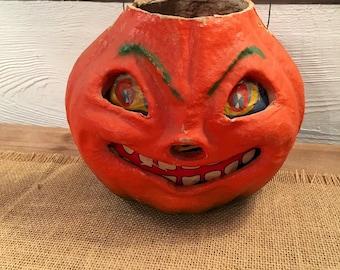 Vintage Paper Mache Jack-O-Lantern Halloween Pumpkin Decoration 50's Jack-o-lantern Pumpkin Decoration Large
