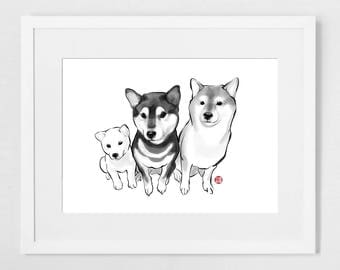 Three Musketeers (SMALL)Shiba Inu Art Print Poster, Sumi-e Painting Japanese Cute dog breed Ink Animal Illustration B&W Asia Zen Birthday