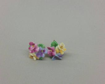 Colourful glass flower screw back earrings