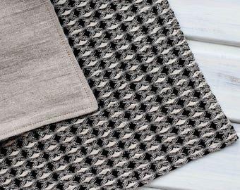 Natural linen bath mat, Rough linen shower mat, Waffle black sauna mat, Double layered rug, Modern farmhouse bath mat