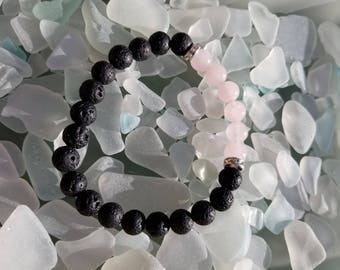 Lava with Rose Quartz and Crystal Essential oil bracelet - Lava beads - Healing stone beads - Rose Quartz - Aromatherapy - Diffuser