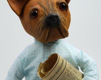 Bulldog, Art doll, OOAK Handmade Doll, Paperclay Art Doll, Collection Doll, Sculpted Paperclay Art Doll, OOAK doll, Interior Art Doll