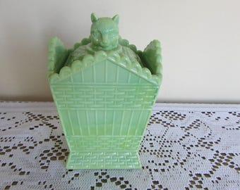 "Summit Art Glass Green Basket with Figurine Lid 5"" tall"