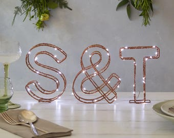 Light up letters set, copper, set of 3, LED light letters, Copper letters, Copper Alphabet Letter, Letter light for wedding, Christmas light