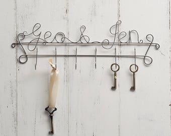 Key Hanger, couples wedding gift, gift for couples, custom key hooks, key holders, New Home gift, housewarming gift, key hangers