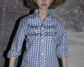 "BJD Clothes msd  Short sleeve or long shirt ""Vichy"" for JID girl Iplehouse"