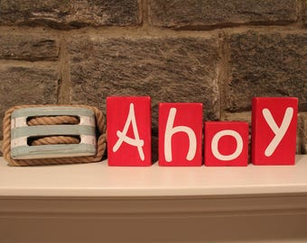 Wooden Letter AHOY Blocks - Nautical Themed Distressed AHOY Blocks - Room Decor