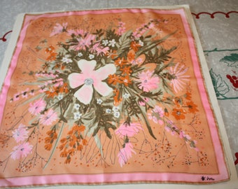 Pretty Pink Abstract Floral Vintage Vera Scarf