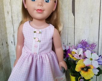 Sweet Pink Gingham Dress for 18-Inch Dolls!
