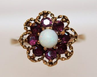 Vintage Opal & Ruby Flower 9ct Gold ring size M 1/2 ~ 6 1/2