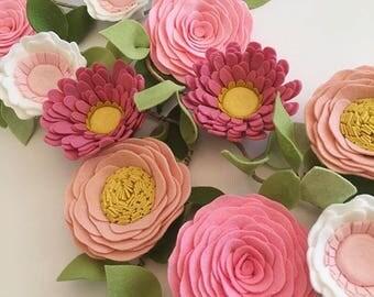 PINK WILDFLOWER GARLAND // Felt Flower Garland // Floral Garland // Nursery Decor // Party Decor // Roses + Daisies + Anemones