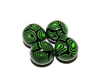 set of 4 beads round polymer clay (ref 005)