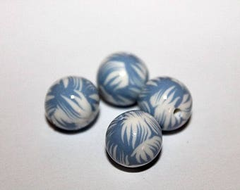 set of 4 beads round polymer clay (ref 011)