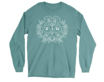 ChiO Chi Omega Crest Comfort Colors Long Sleeve Sorority Tee Choose Your Colors