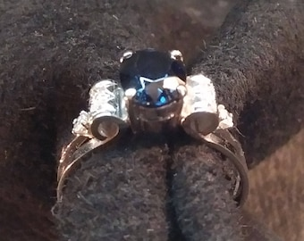 Blue Sapphire an Diamond Ring Set