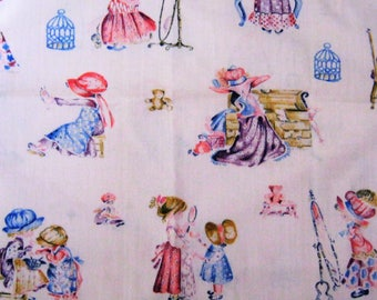 Pink Holly Hobby Fabric*American Greetings for Manes Fabrics*Little Girls Playing Dress Up*Dolls and Teddy Bears*Pale Pink Cotton*Vintage