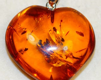 Stunning Cognac Baltic Amber Carved Heart & 925 Sterling Silver Pendant by Silver Trend