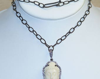All Natural Carved Camel Bone Buddha Face with Cubic Zirconia Set in 925 Solid Sterling Silver Rhodium Overlay