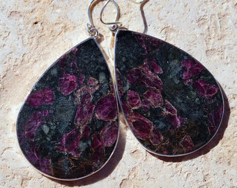 Giant Eudialyte set in 925 Sterling Silver Earrings, Healing Stone: Heart Chakra, helps to align what we must do with what we dream of doing