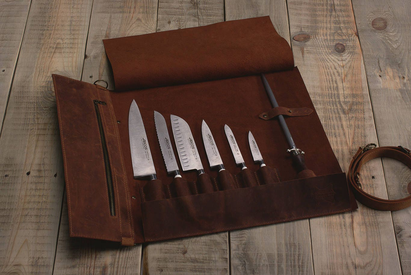 leather knife roll case roll chef knife case chef bag. Black Bedroom Furniture Sets. Home Design Ideas