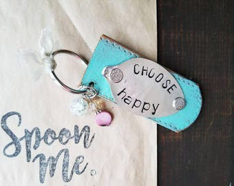 Spoon Key Chain, Spoon Key Ring, Hand Stamped, Be The Good, Silverware Key Chain, Hand Stamped Spoon, Leather Key Ring, Leather Key Chain