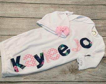 Newborn girl coming home outfit, girl newborn gown, name gown girl